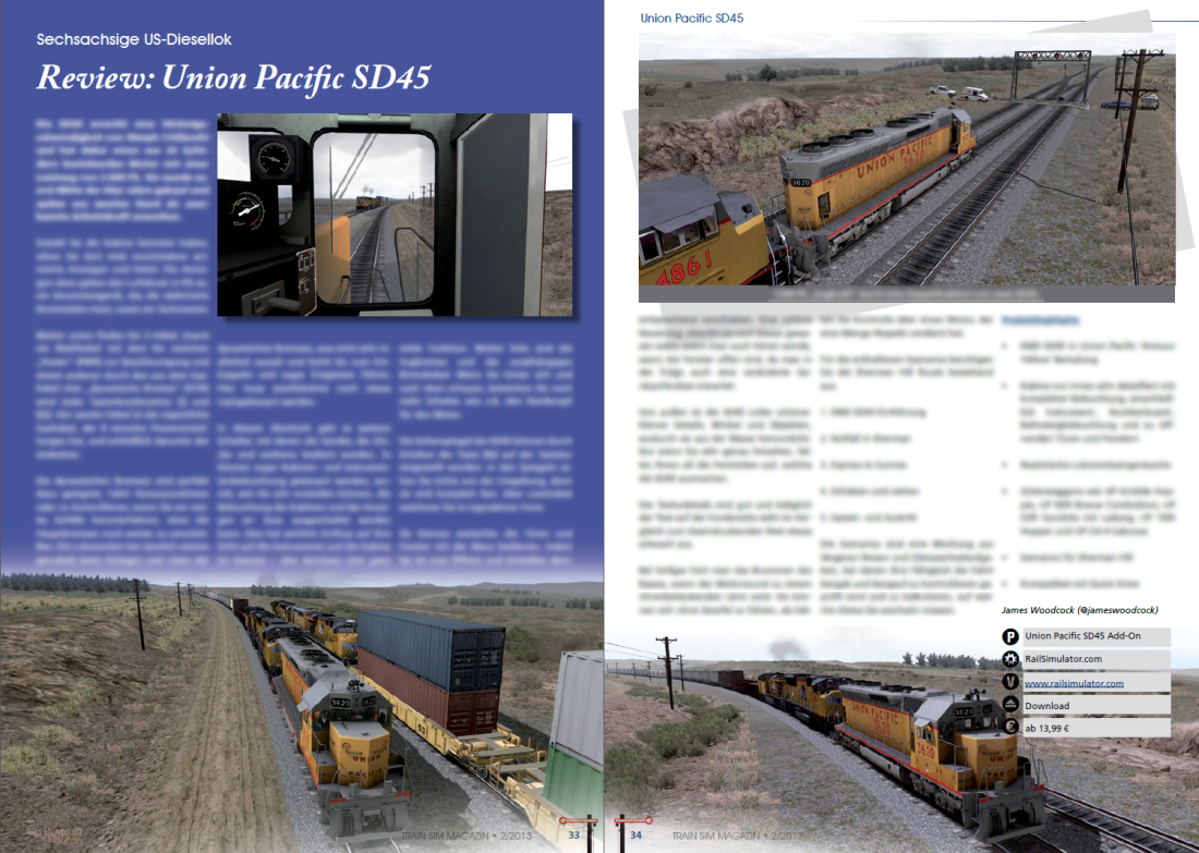 Union Pacific SD45 Review featured in Train Sim Magazin