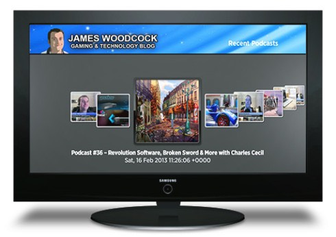 James Woodcock's Podcast accessible on a Roku device through a TV
