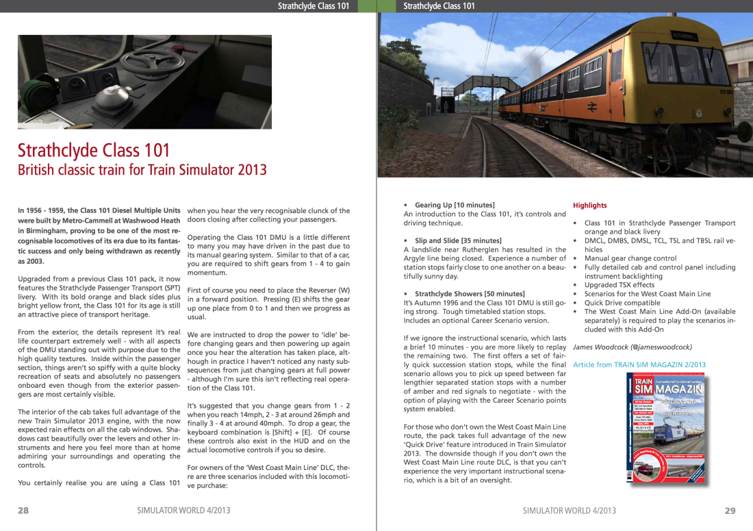 Strathclyde Class 101 Review in Simulator World Magazine