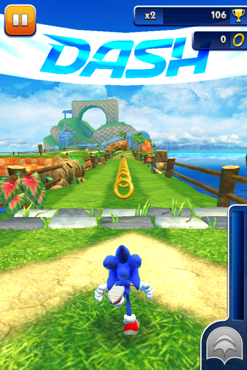 Playing a game at home with Sonic Dash for iOS