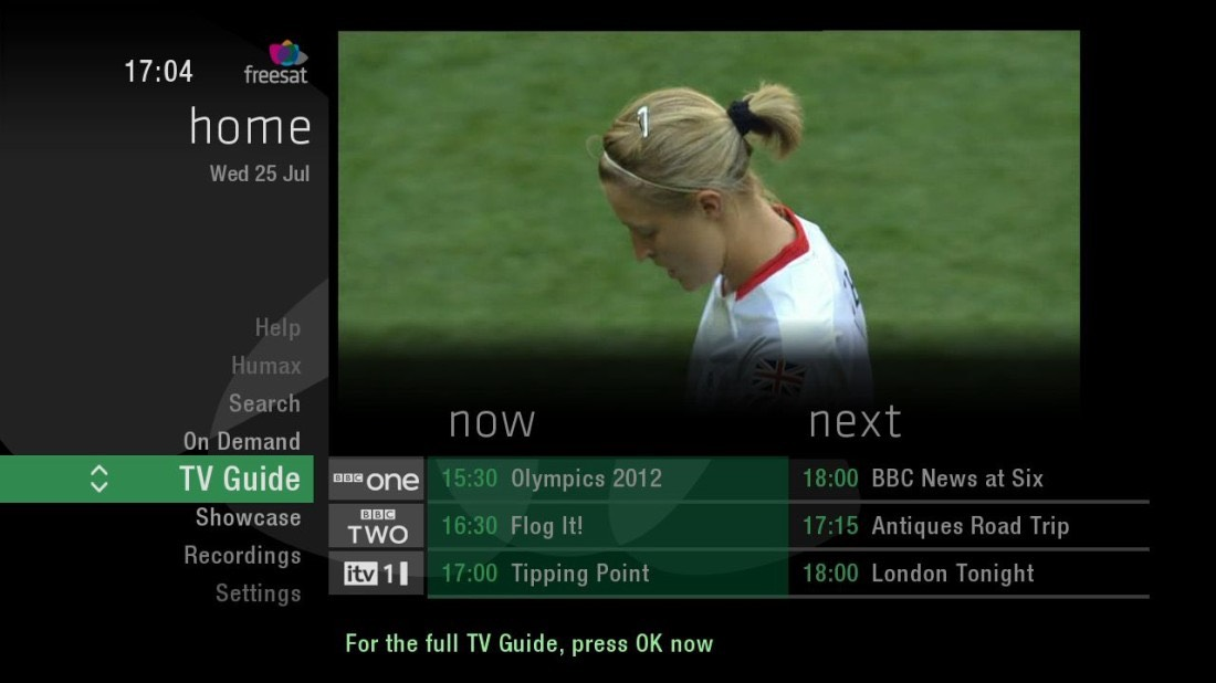 TV Guide Now and Next display