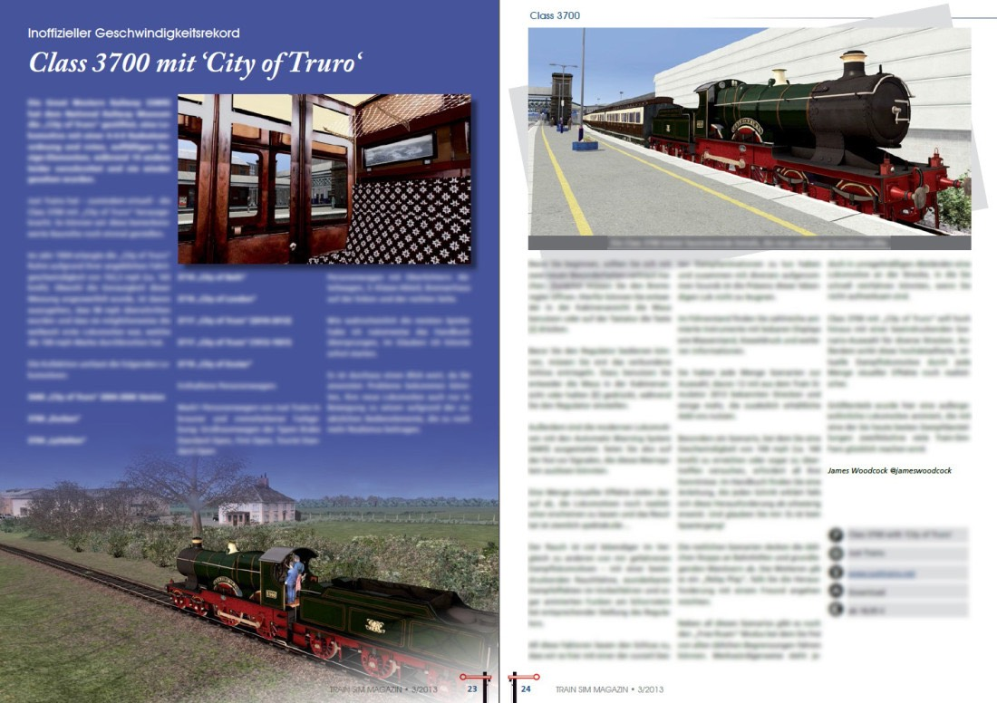 Class 3700 'City of Truro' Review featured in Train Sim Magazin