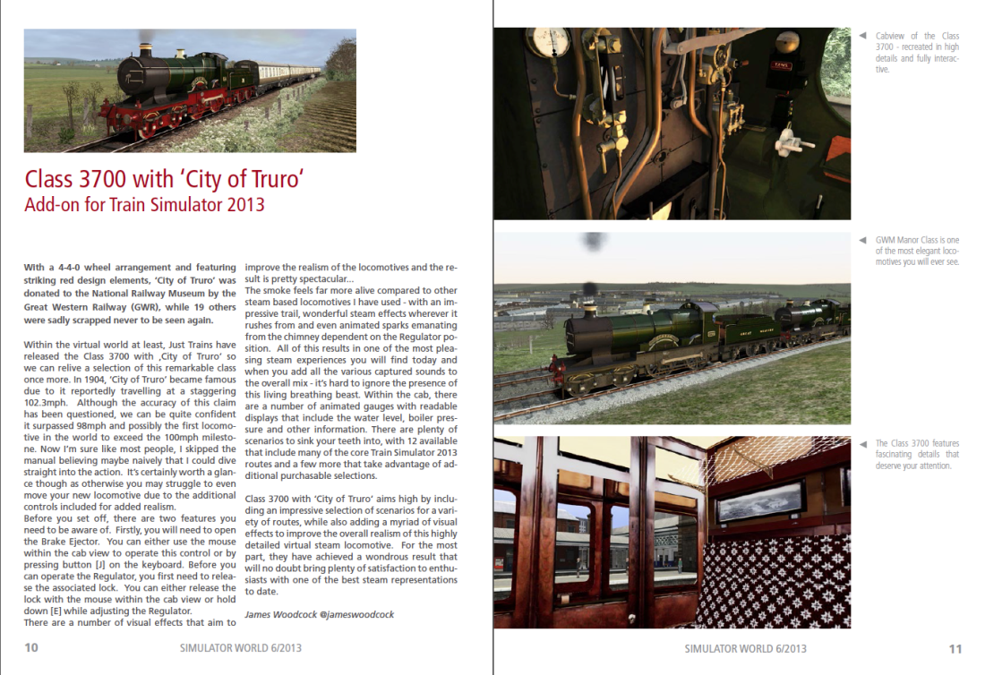 My Class 3700 'City of Truro' Review featured in Simulator WORLD Magazine