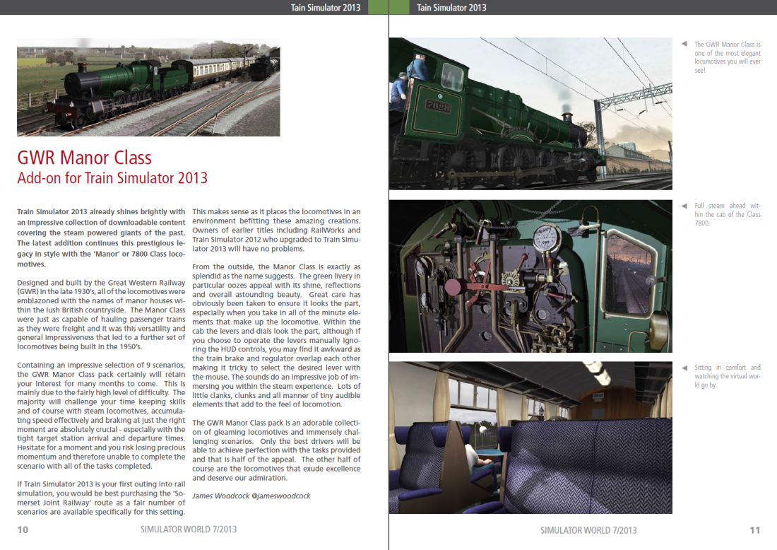 My GWR Manor Class Review featured in Simulator World Magazine