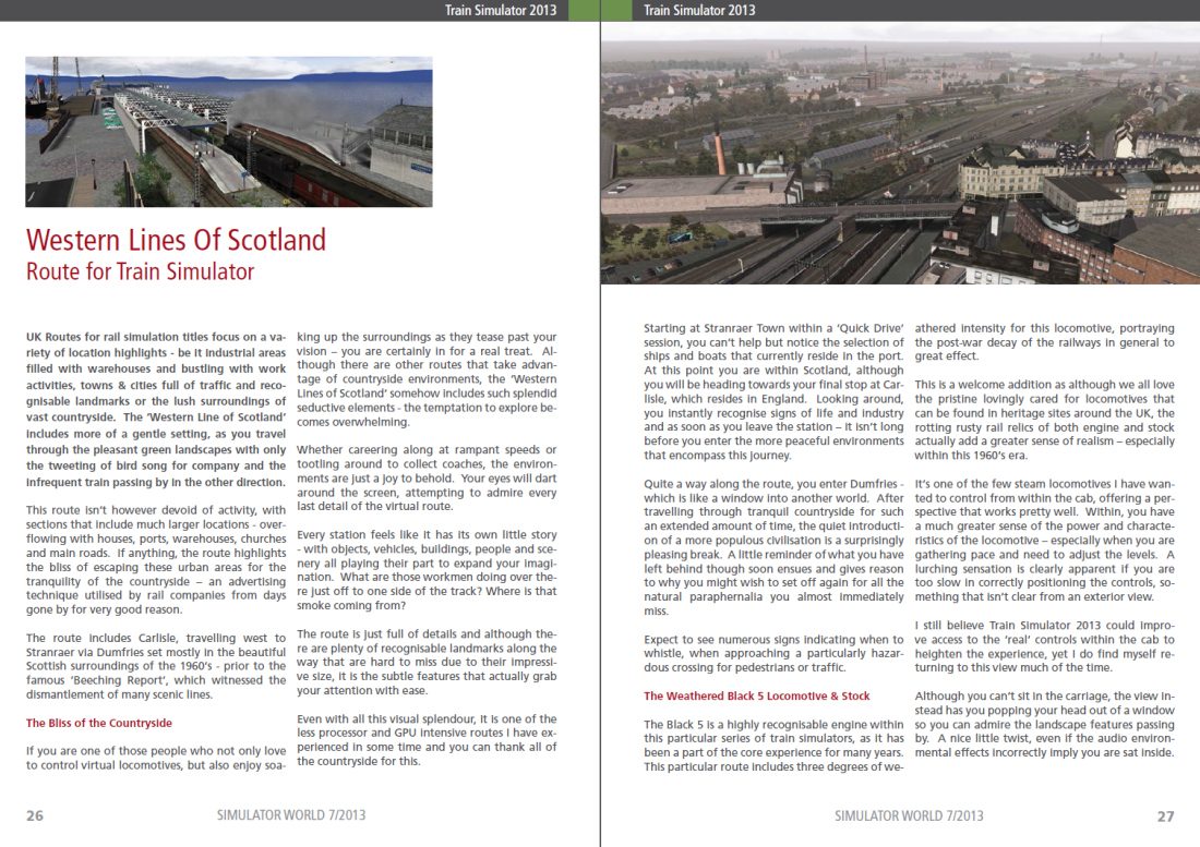 My Western Lines of Scotland Review featured in Simulator World Magazine