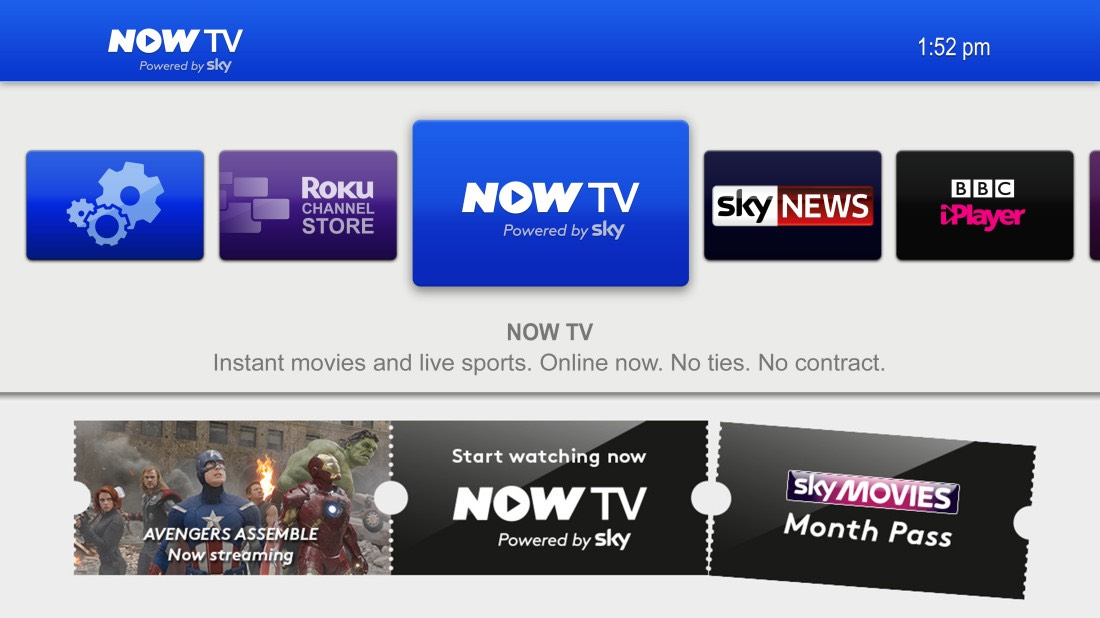 NOW TV Box interface