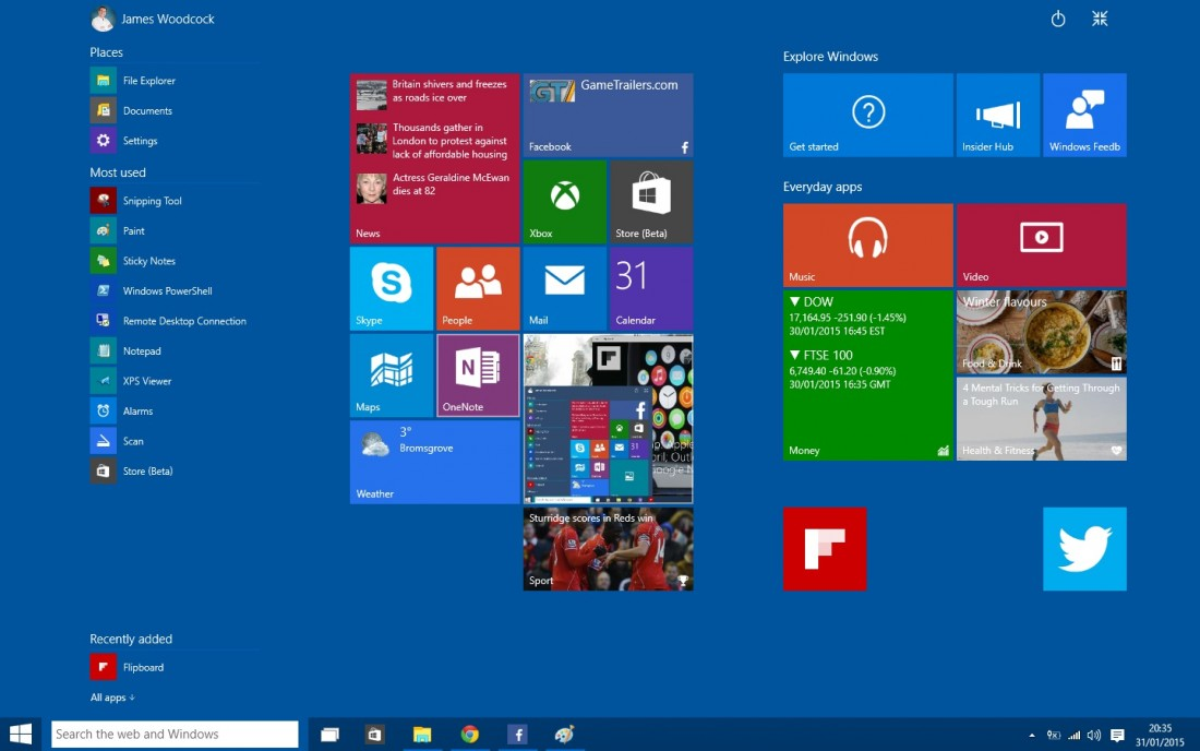 Windows 10 Start Menu Stretched